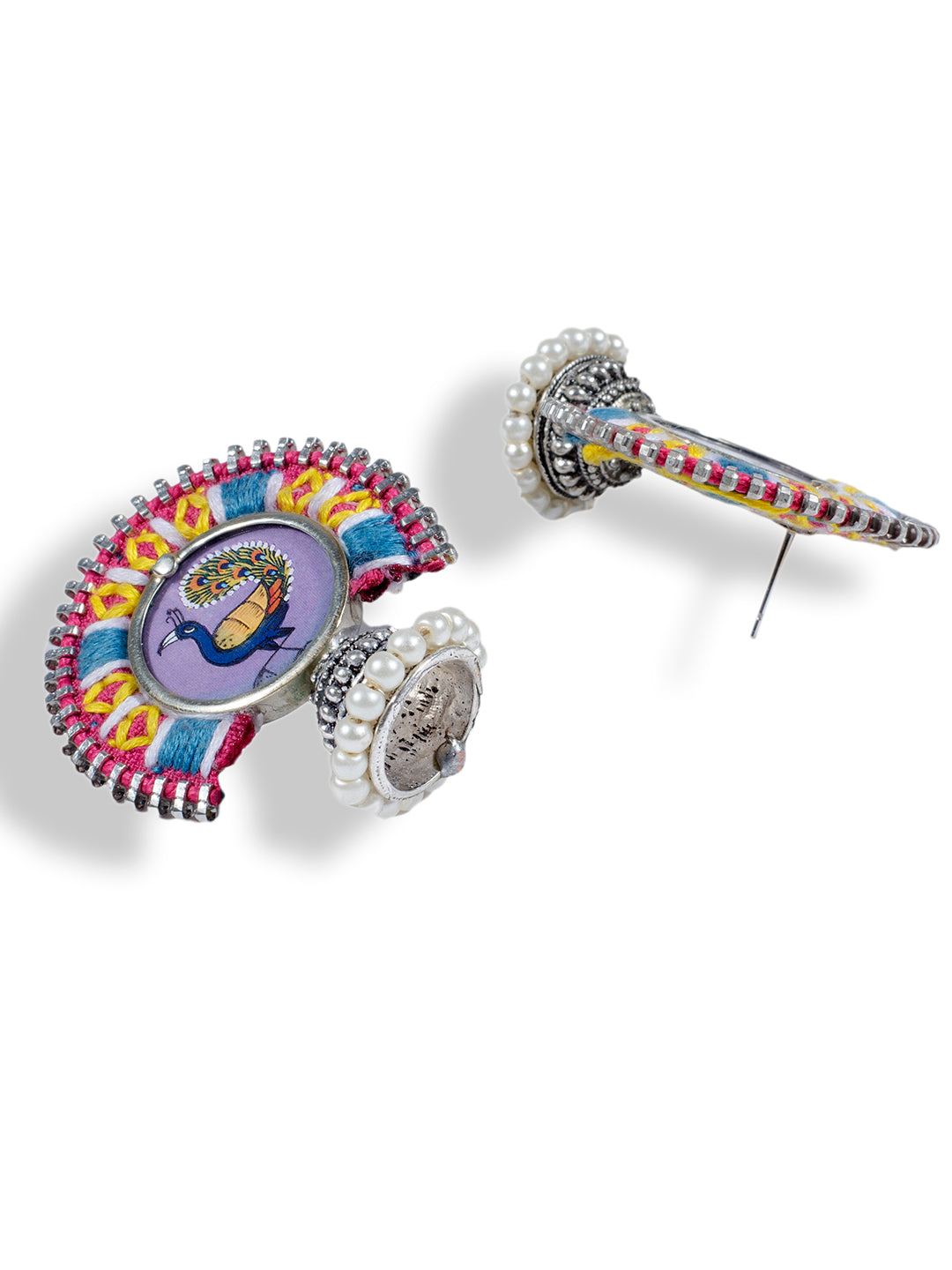 Purple Colour Peacock Embroidered Jhumka Earring