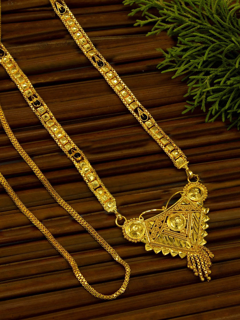 Avismaya Two layered Gold Plated Black color Beads Geometric Design pendant Long necklace Chain-AVISMAYA-Mangalsutra