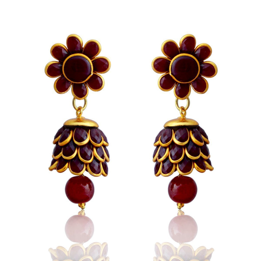 Designer Paachi Pearl Stone Red Gold Plated Earring