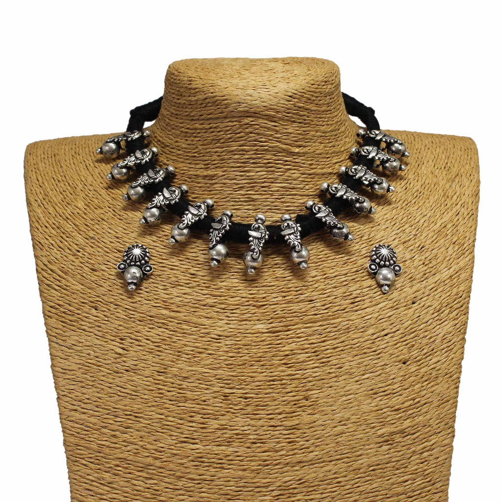 Oxidized German Silver Peacock Design Choker Necklace Set