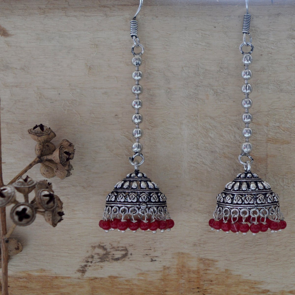 German Silver Antique Oxidized Tribal Designer Long Tokri Jhumka Earring