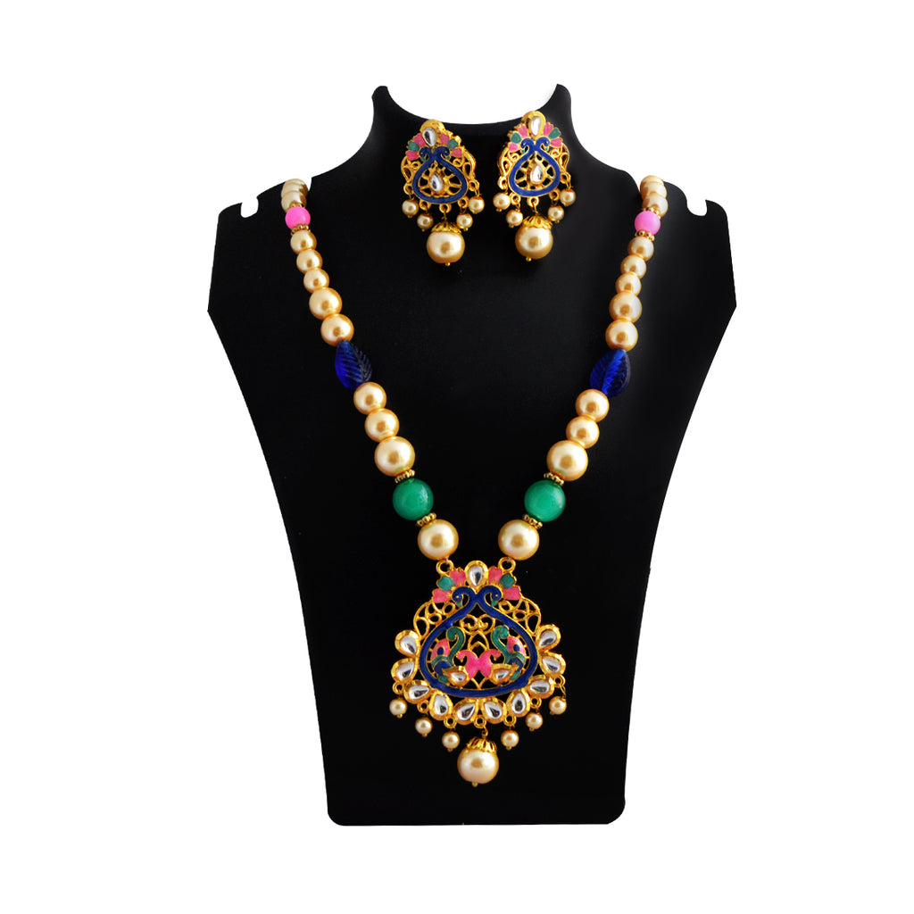MK Jewellers Blues And Marine Color Meenakari Painting With Kundan Stone And Pearl Necklace Set-MK Jewellers-Necklace
