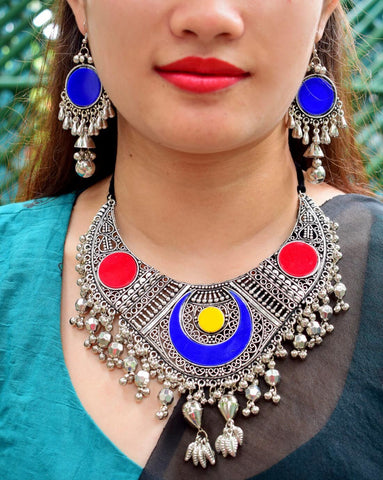 Oxidized Metal Navaratri Multicolor Necklace Set