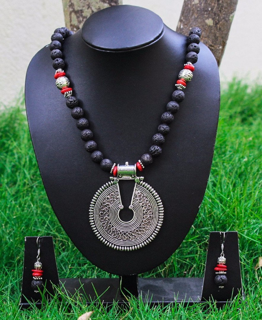 Lava Beads And Corals Combined With German Silver And Tibetan Silver Necklace Set
