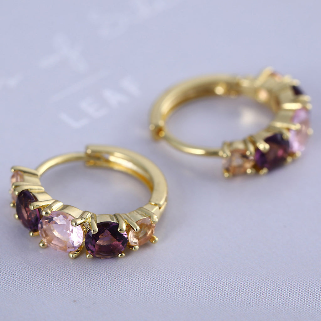 Sukkhi Gold Plated Purple Crystal Stone Circle Design Hoop Earring-SUKKHI-Earring