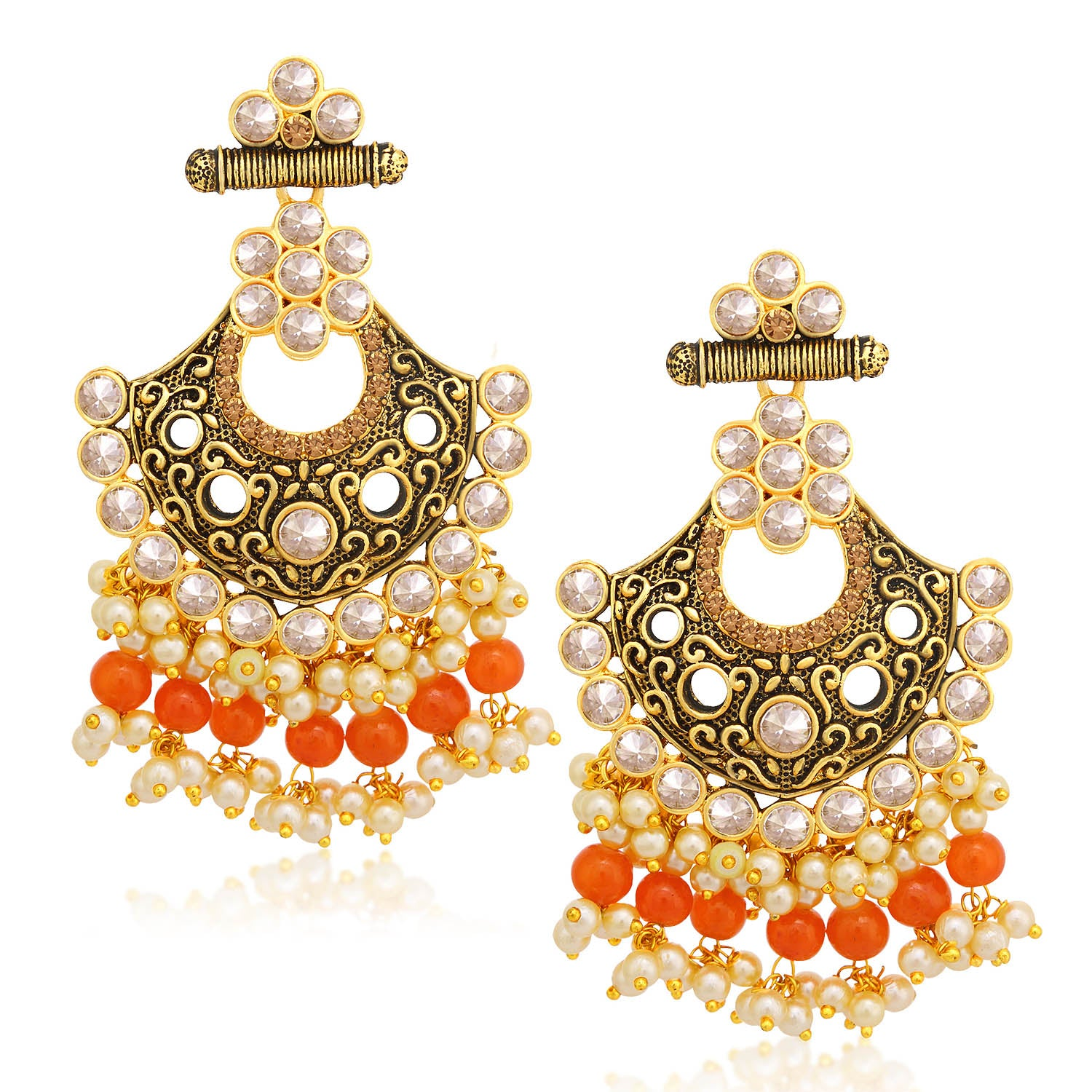Sukkhi Gleaming LCT Stone Gold Plated Pearl Chandelier Earring For Women-SUKKHI1-Earring