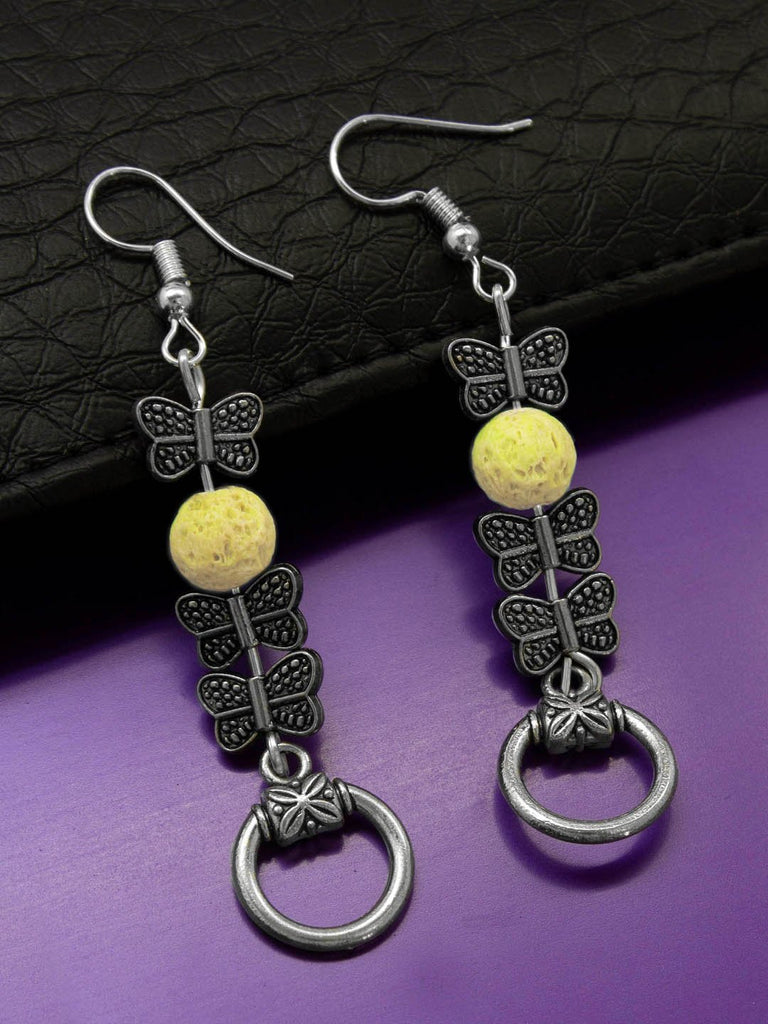 Shana Fashions Silver Plated Butterfly Design Wth Yellow Color Lava Bead Handmade Drop Earring-SHANA FASHIONS-Earring