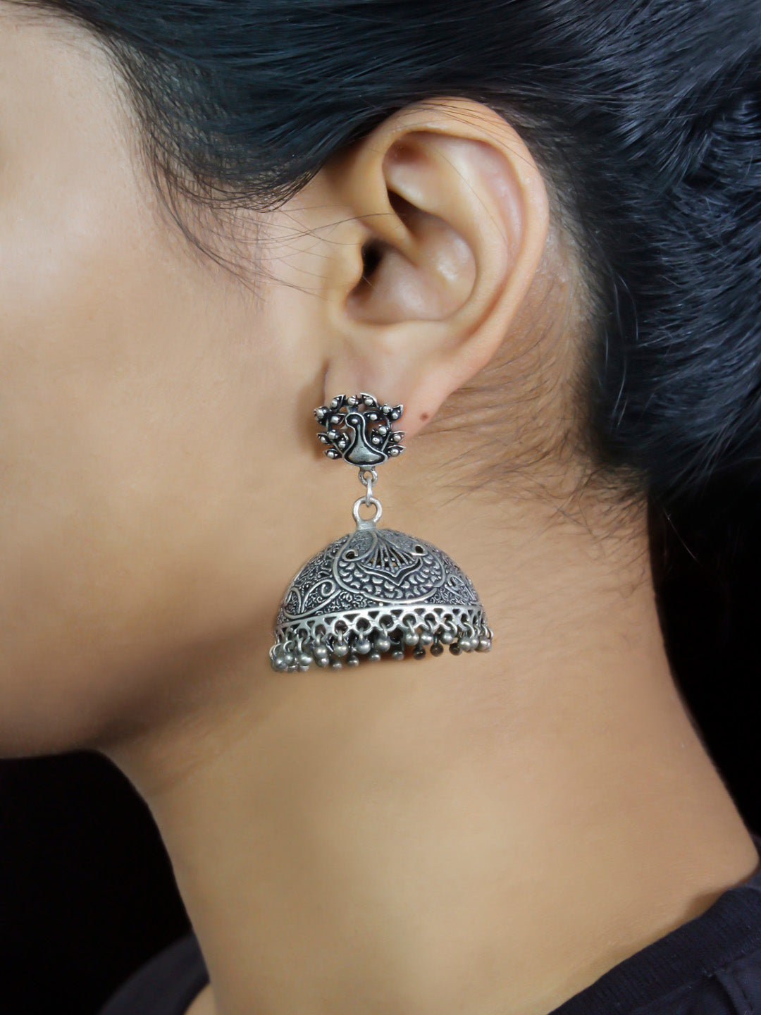 Oxidised German Silver Peacock Design Big Jhumka Earring-OXIDIZED-Earring