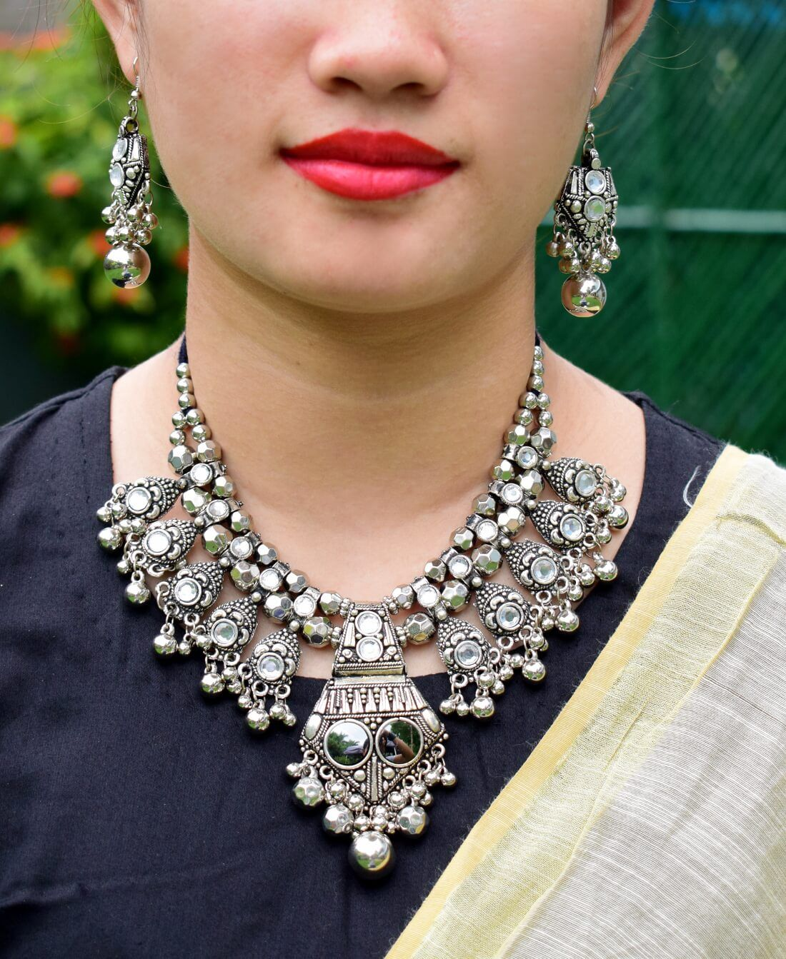 Oxidized Metal Navaratri Mirror Pendant White Beads Necklace Set