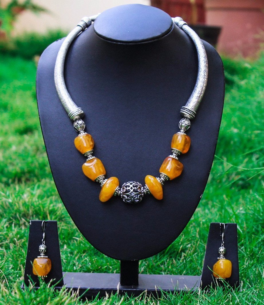 Resin Amber Beads Necklace Set Combined With German Silver And Tibetan Silver