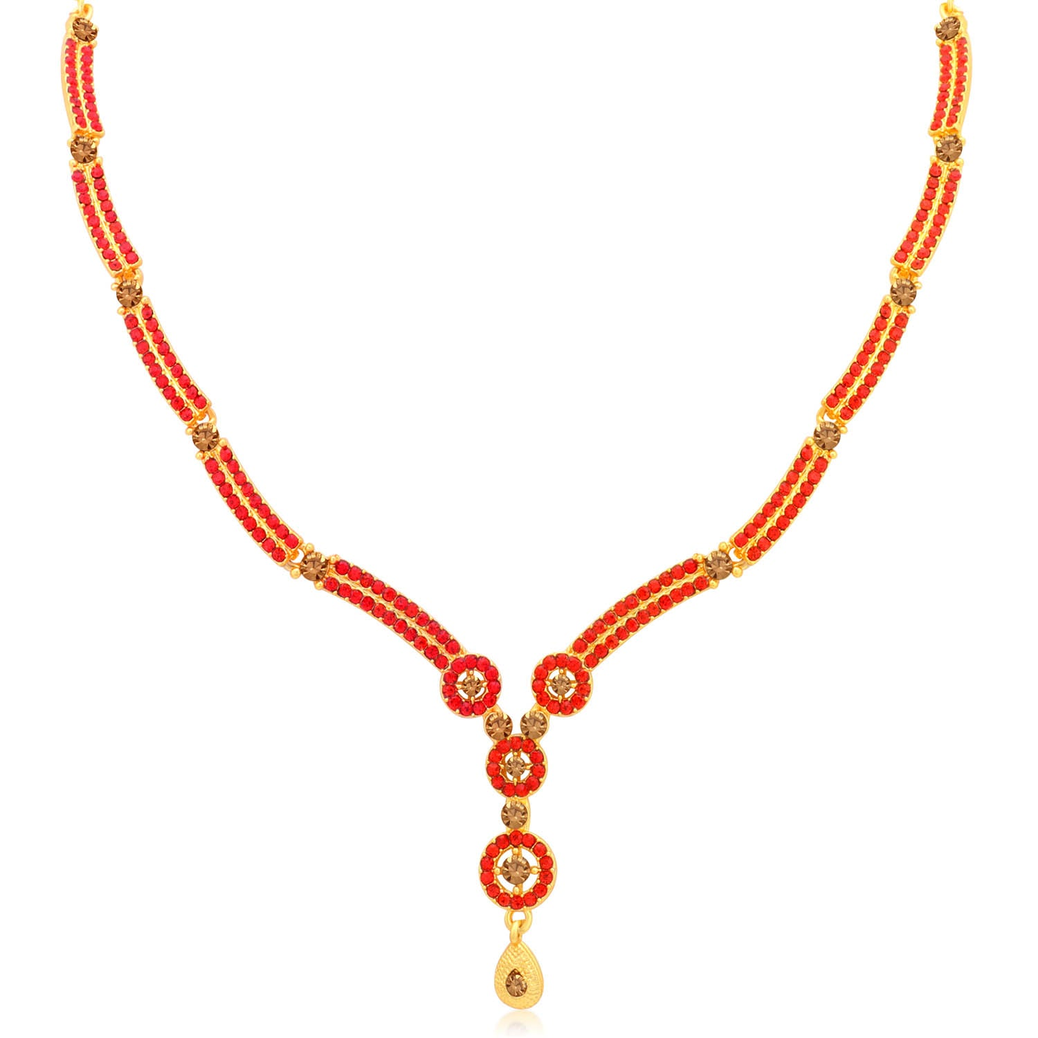 Sukkhi Blossomy LCT and Red Stone Gold Plated Pearl Necklace Set for Women-SUKKHI1-Necklace Set