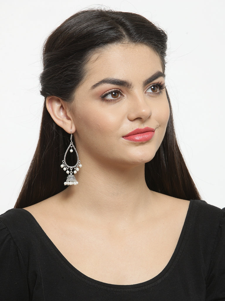Pretty Oxidised White Color Dangler Earring-ART MANNIA1-Earring