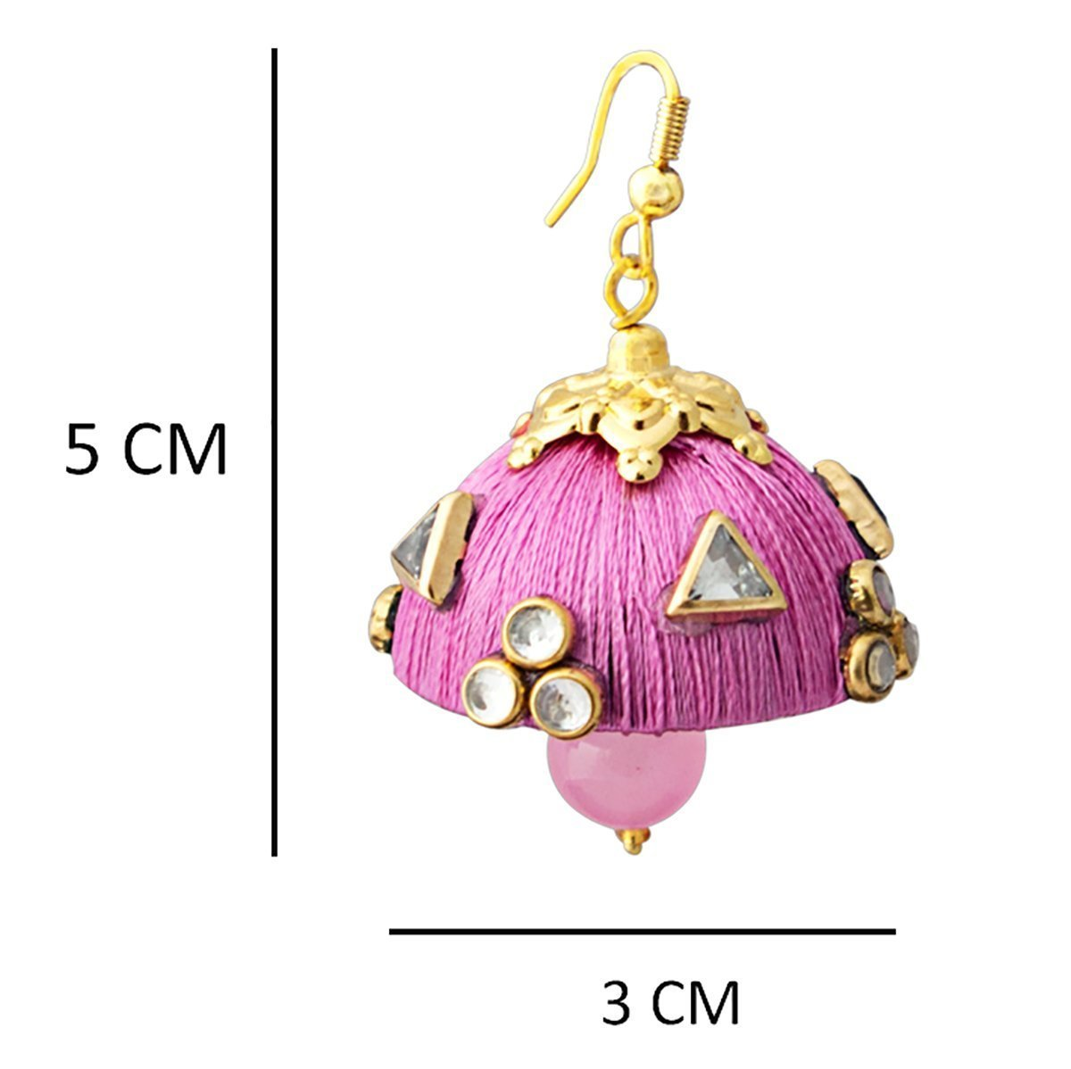 Gorgeous Dangling Drop Beads Pink Silk Tokri Jhumki Earring