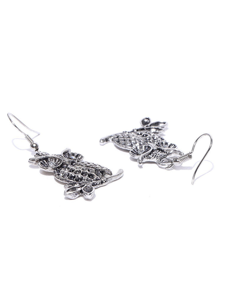 Zaveri Pearls Antique Silver Tone Owl Design Earring