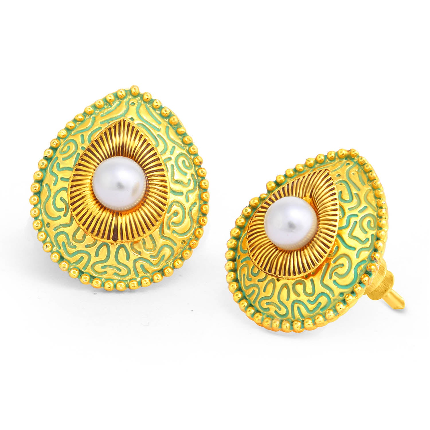 Sukkhi Precious Gold Plated Pearl Sky Blue Mint Meena Collection Stud Earring For Women-SUKKHI1-Earring