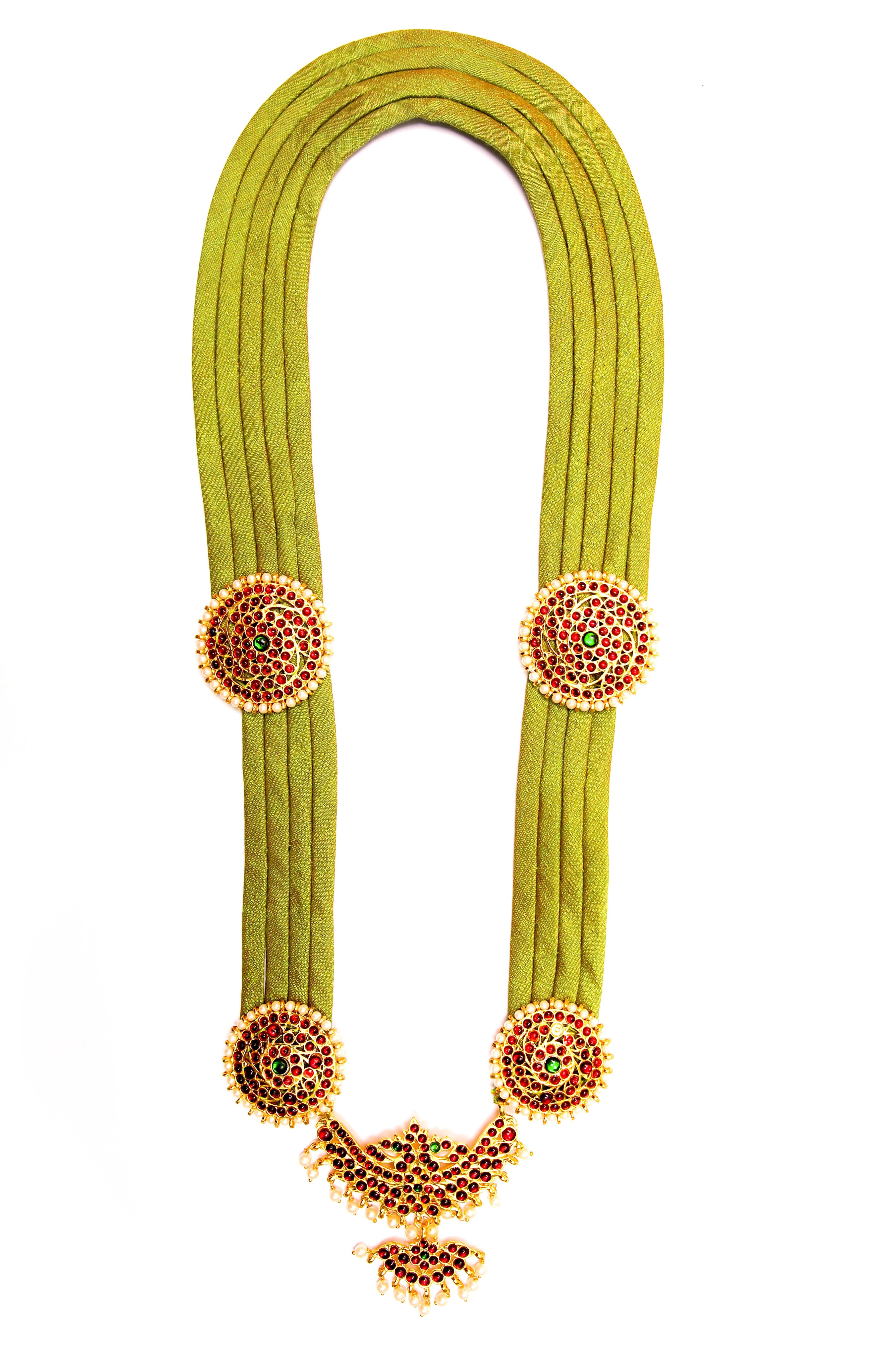 Olive Green Color Full Shobha Contemporary Temple Necklace