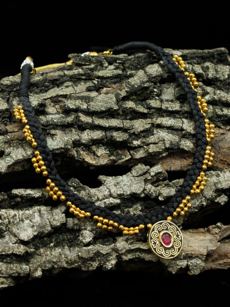 Braided Black Thread with Golden Beads Choker Pendant Necklace Set-AVISMAYA1-Necklace