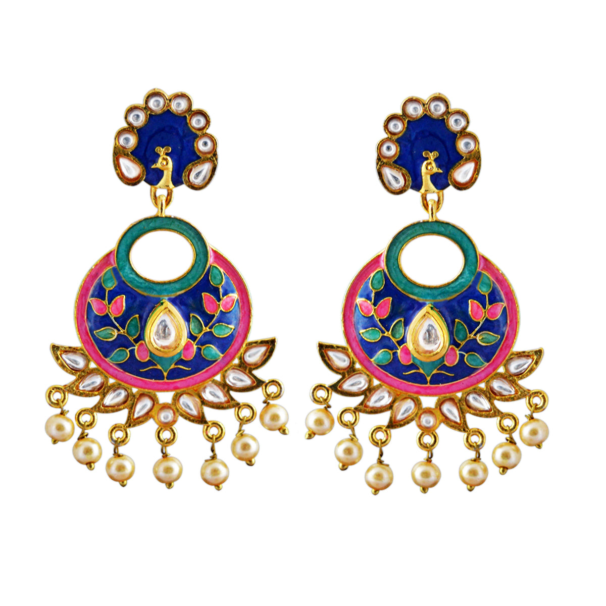 Blue And Green Color Peacock Design With Kundan Stone Meenakari Dangler Earring-MK JEWELLERS1-Earring