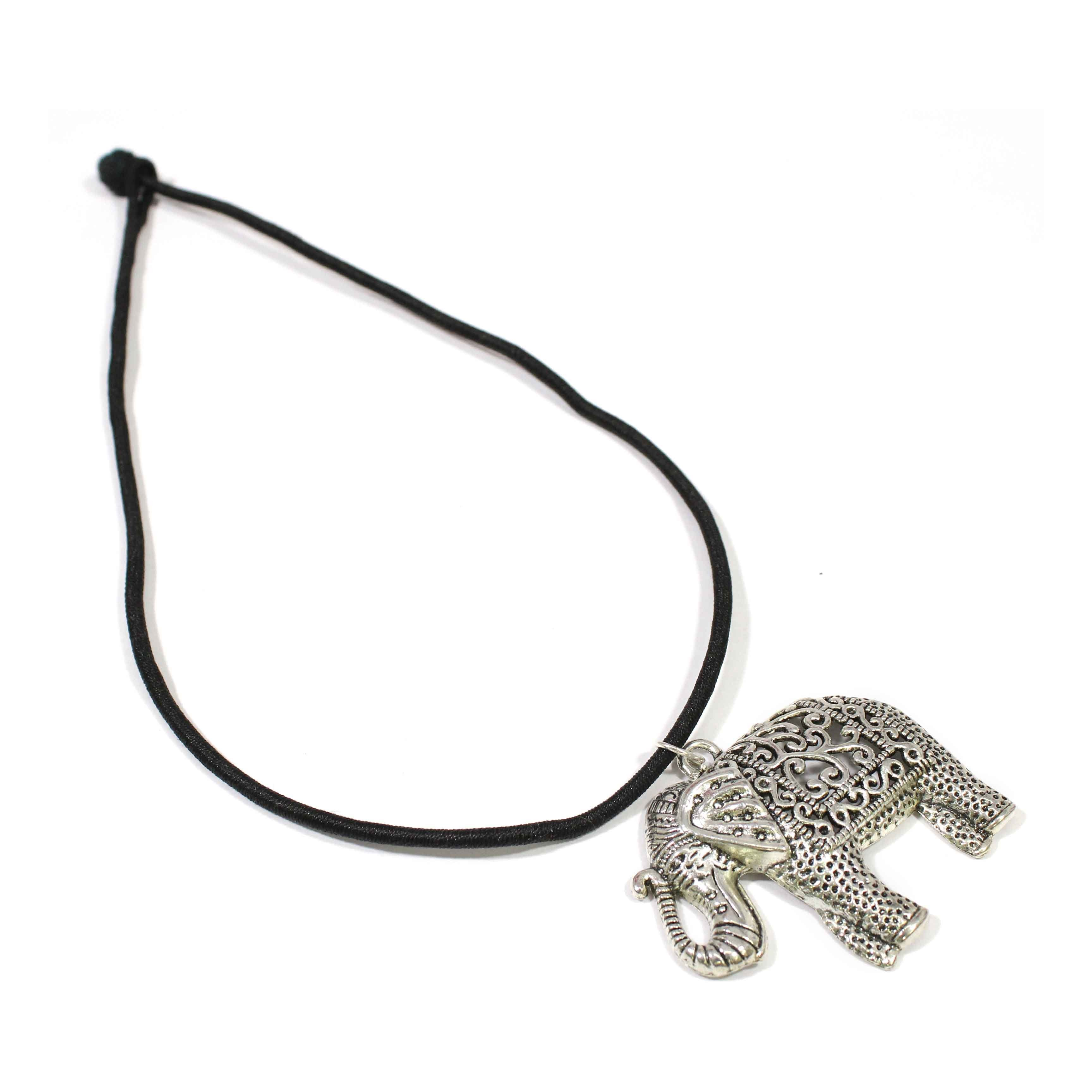 German Silver Oxidized Elephant Shape Pendant Necklace with Silk Dori