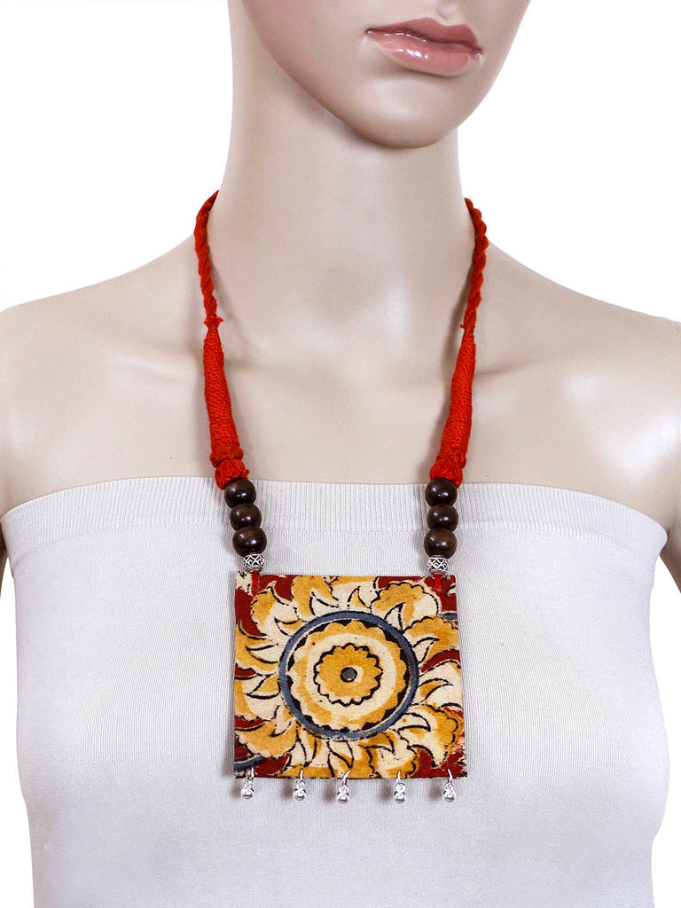 Kalamkari Fabric Printed Square Pendant Design Handmade Necklace Set