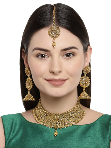 Zaveri Pearls Bridal Gold Plated Choker Necklace Set