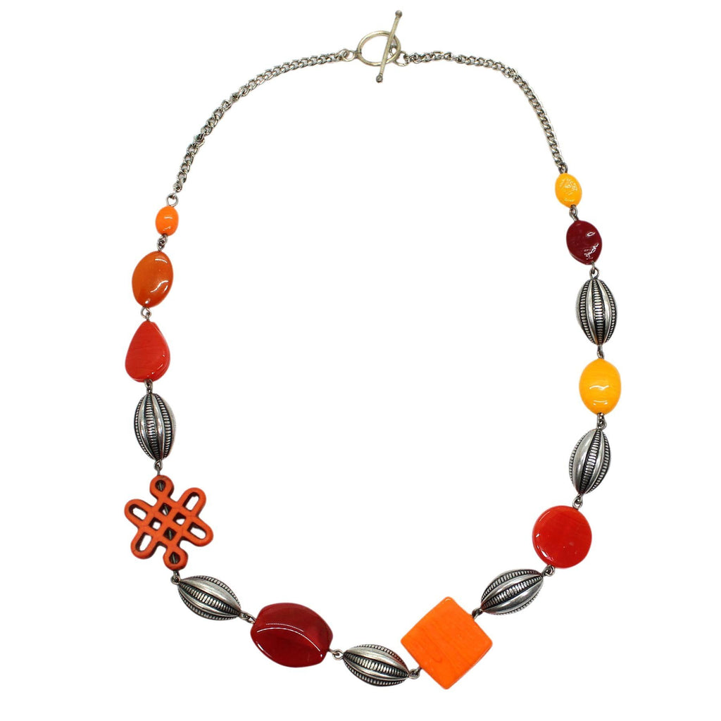 Necklace With Assorted Glass And Stone Beads, With Metal Beads As Fillers