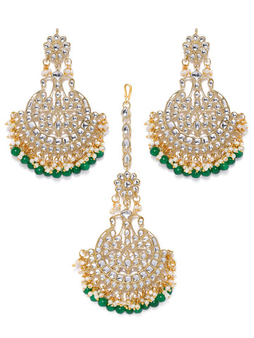 Zaveri Pearls Gold Tone Kundan And Green Beads Traditional Earring And Maang Tikka Set