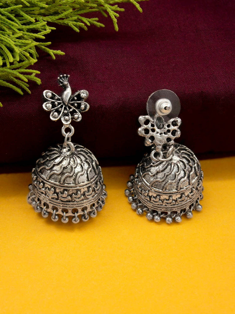 Jumkey Aykya Antique Silver Plated Peacock Design Pendant With Hanging Broken Ghungroos Long Necklace Jewellery Set-JUMKEY AYKYA-JEWELLERY SET