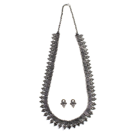 Oxidised German Silver Lotus Design Long Necklace Set