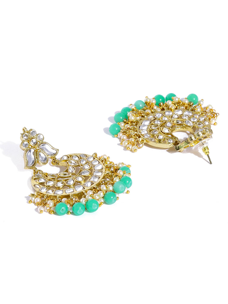Zaveri Pearls Vibrant Kundan With Green Beads Dangle Earring-ZAVERI PEARLS1-Earring