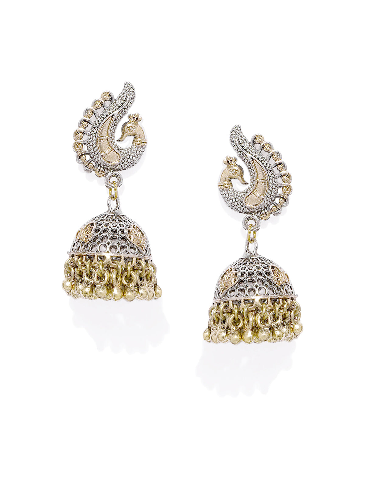 Zaveri Pearls Antique Two Tone Peacock Inspired Jhumki Earring