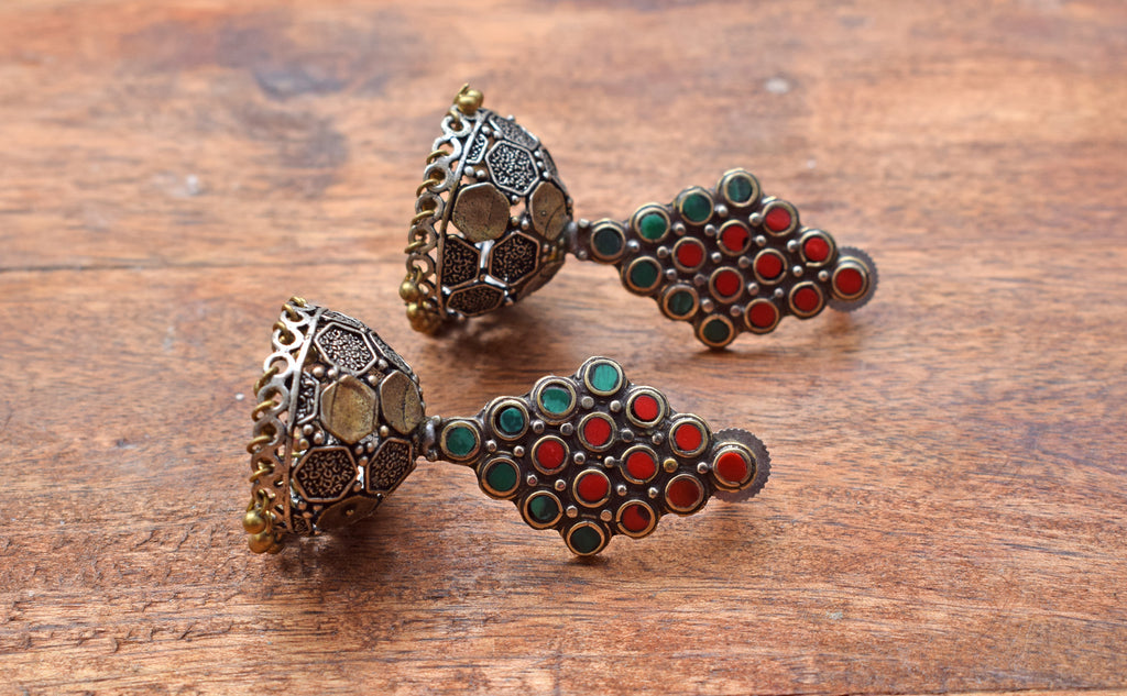 Red And Green Tibetan Jhumka Earring-ANETRA1-Earring