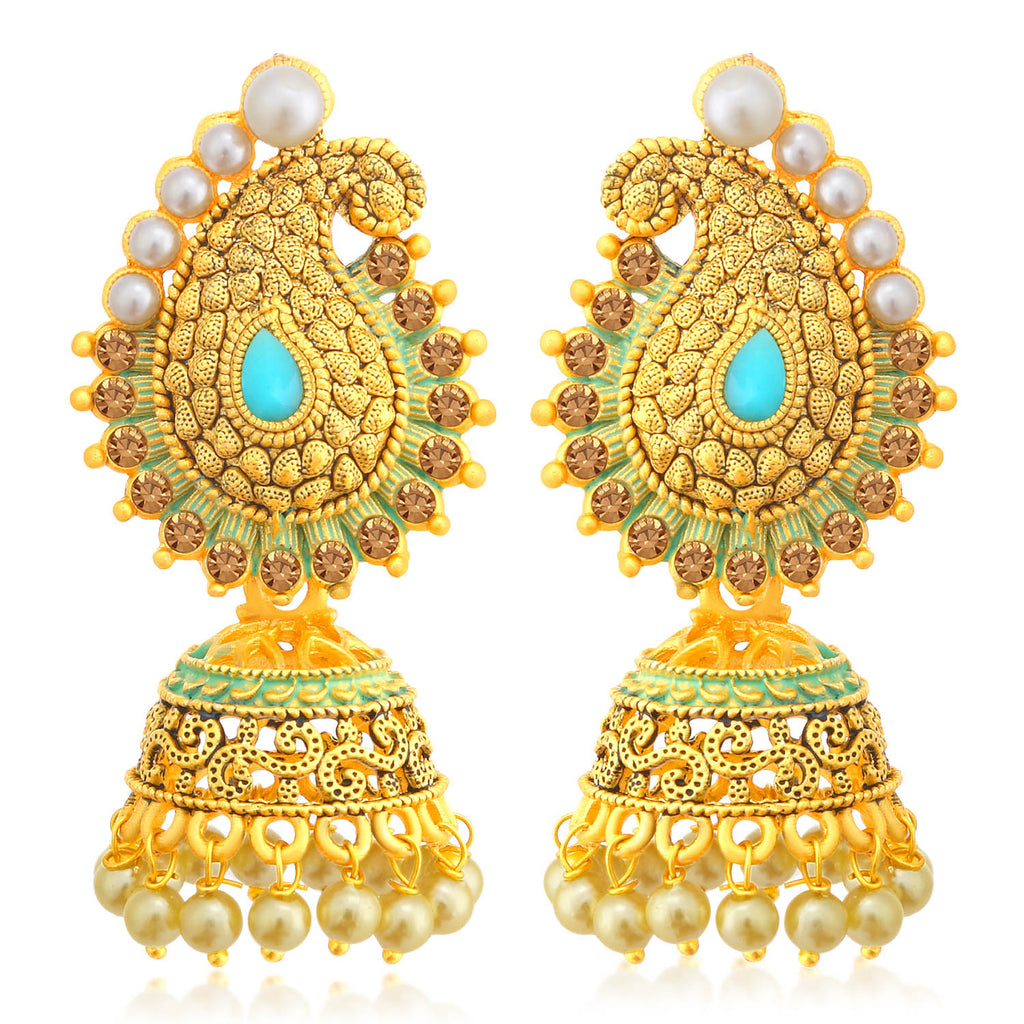 Sukkhi Gleaming LCT Stone Gold Plated Paisley Pearl Sky Blue Mint Meena Collection Jhumki Earring For Women-SUKKHI1-Earring
