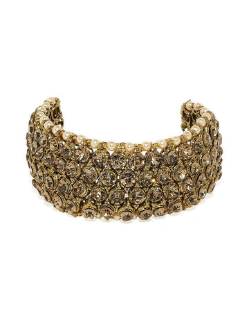 Gold Tone Sparkling Austrian Diamonds And Pearls Studded Traditional Bracelet
