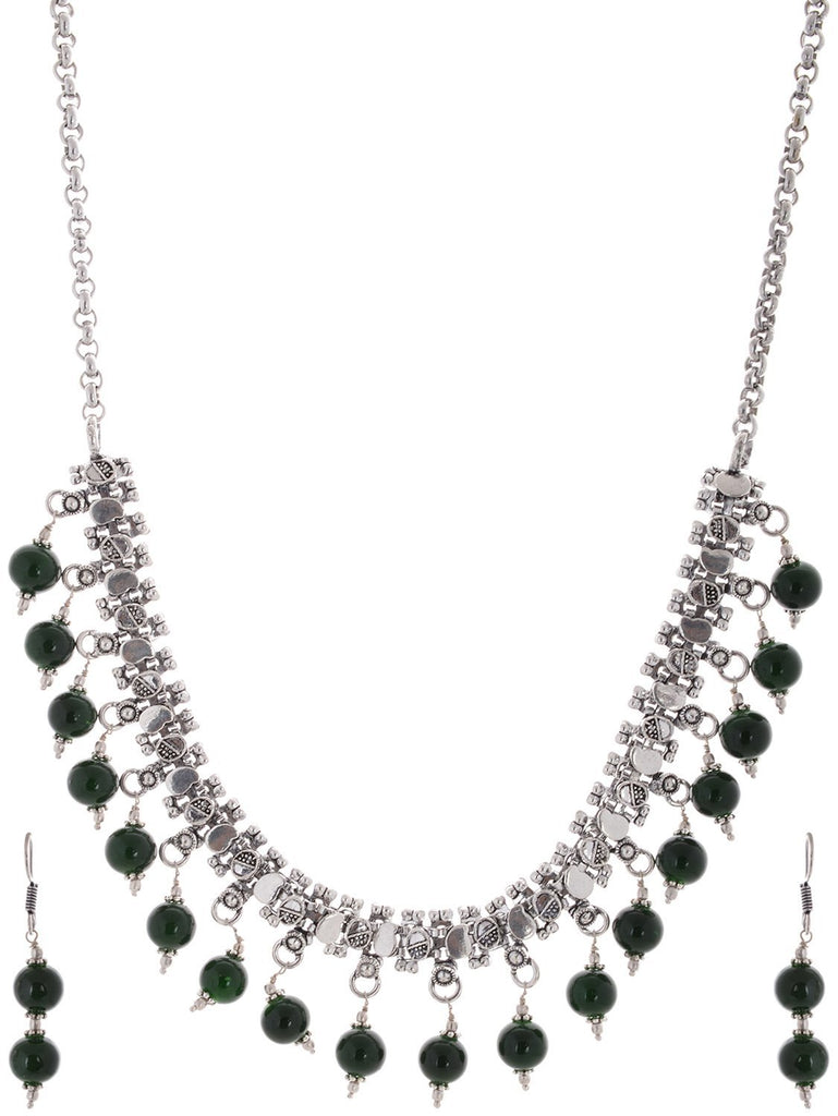 Floral Design Dark Green Color Beads Choker Necklace Set