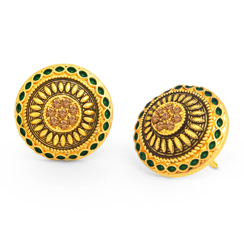 Sukkhi Trendy LCT Stone Gold Plated Green Mint Meena Collection Stud Earring For Women-SUKKHI1-Earring