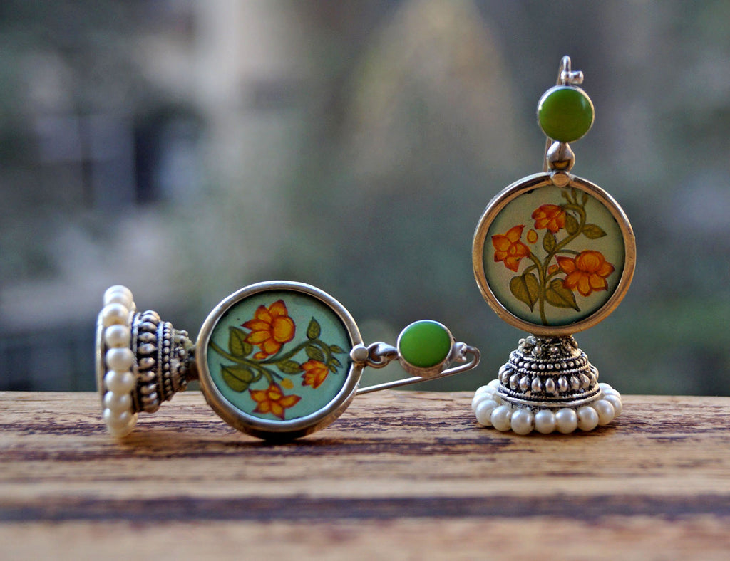 Green Colour Floral Design Jhumka Earring