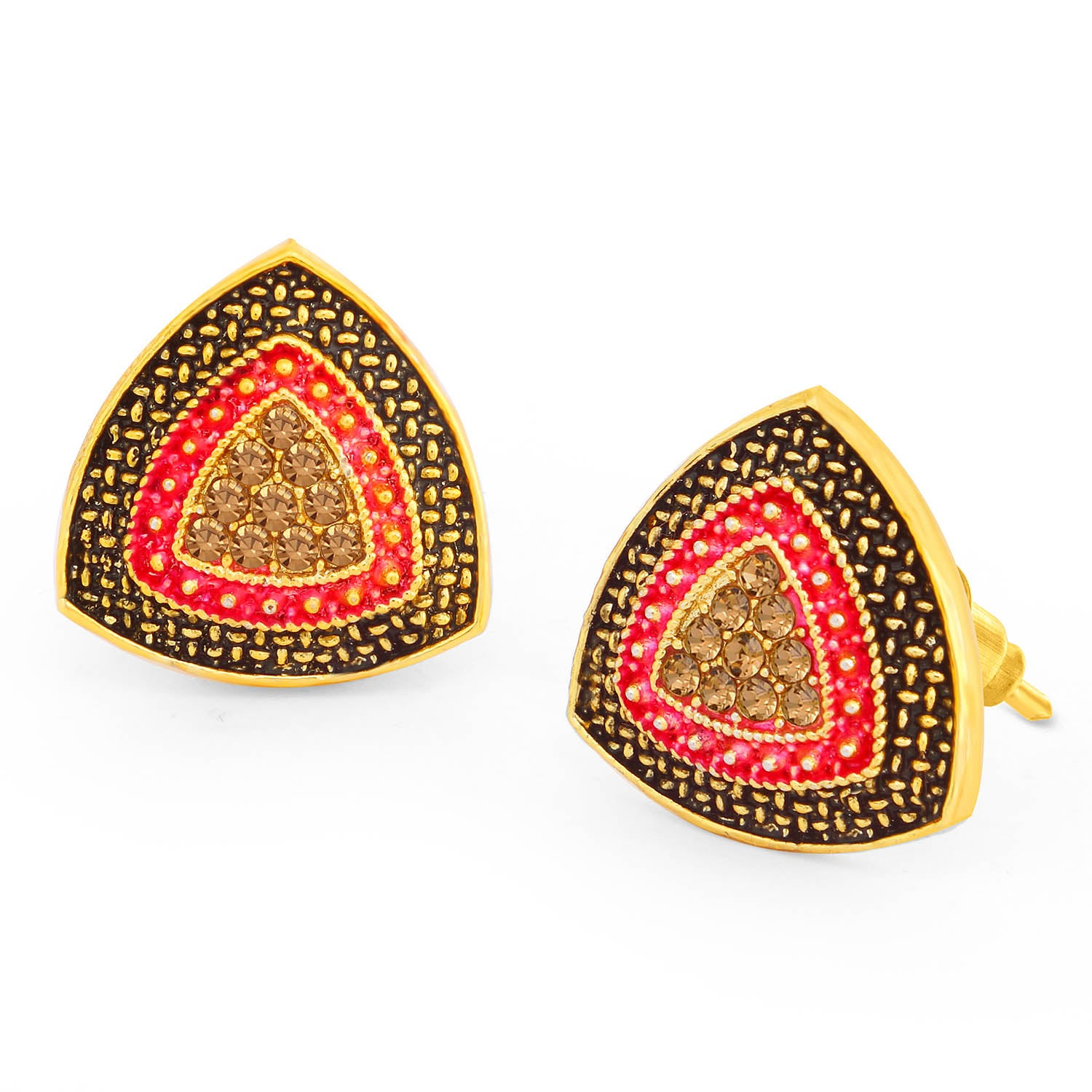Sukkhi Graceful LCT Stone Gold Plated Pink Mint Meena Collection Stud Earring For Women-SUKKHI1-Earring