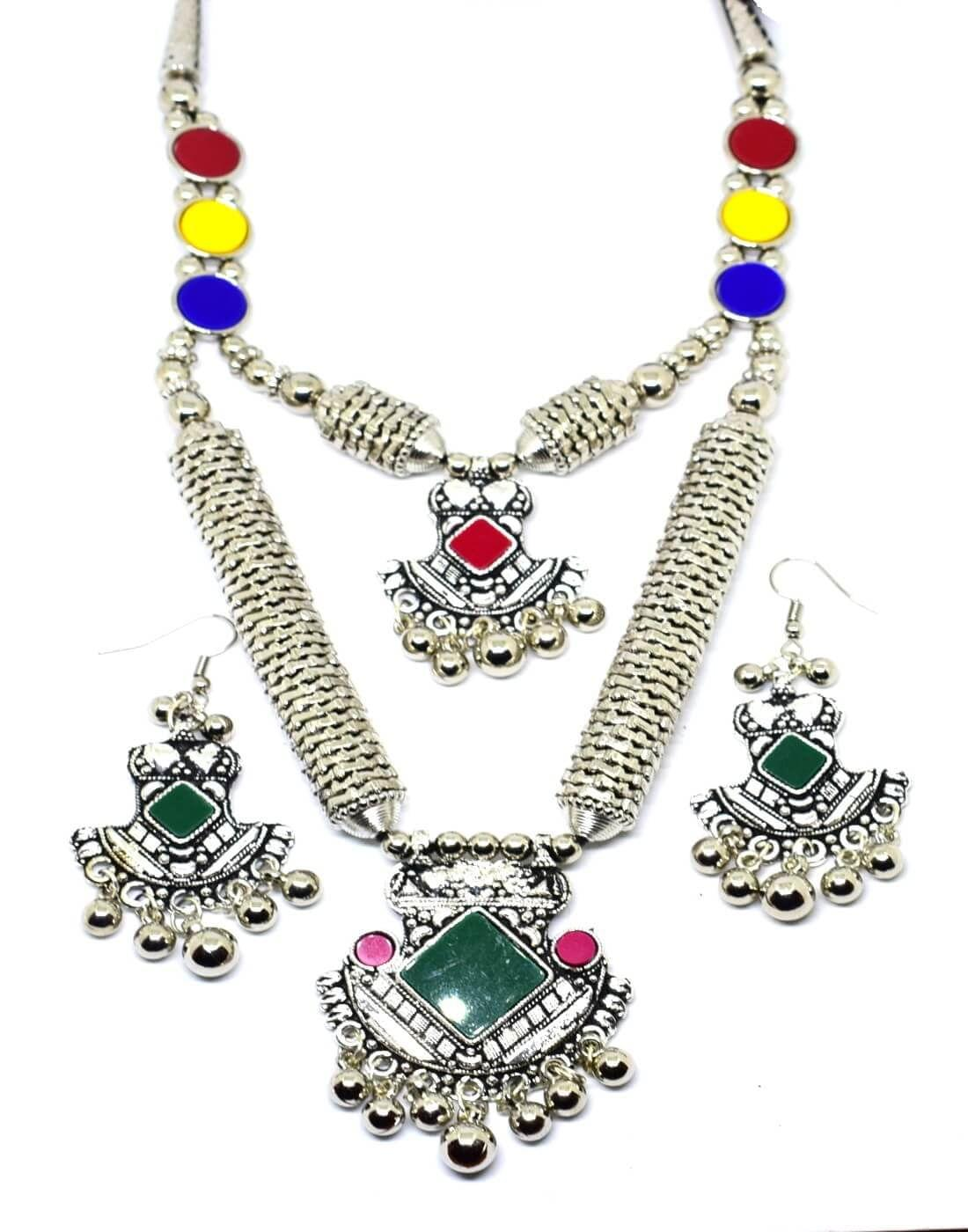 Navaratri Double Strand Oxidized Metal Set Multicoloured Necklace Set