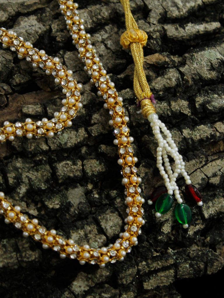 Gold Plated Pearl Cluster Mala Necklace Traditional Jewelry-AVISMAYA1-Necklace