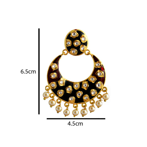 Black And Maroon Meenakari Tribal Dual Half Moon Design With Kundan Earring