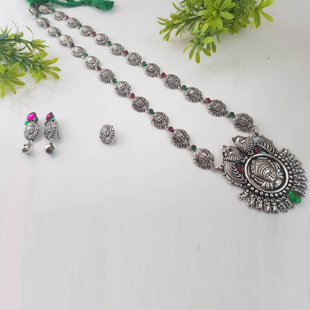 Oxidised German Silver durga Design Long Necklace Set With Nose Pin