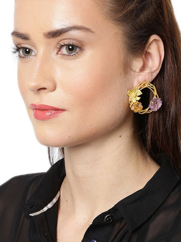 Zaveri Pearls Designer Gold Plated Flower Design Embellished With Semi Precious Druzy Stones Stud Earring