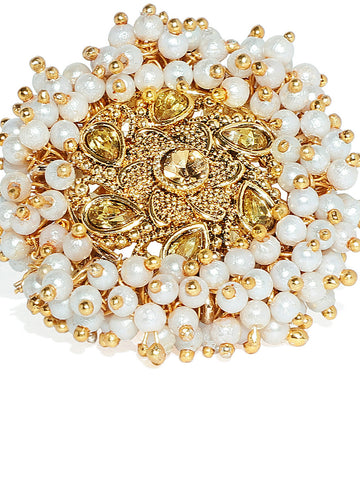 Zaveri Pearls Ethnic Gold Tone Embellished With Pearls Finger Ring