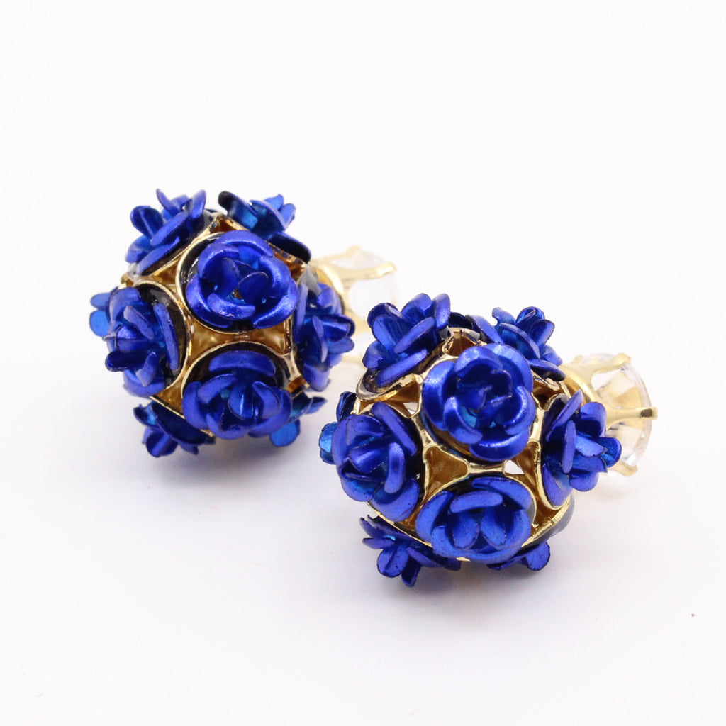 Sukkhi Appealing Blue Rose Shape Two Sided Gold Plated Crystal Alloy Stud Earring-SUKKHI1-E81057