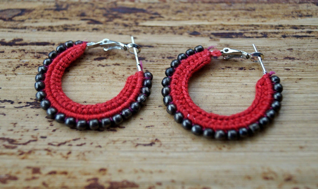 Red Unique Hoops