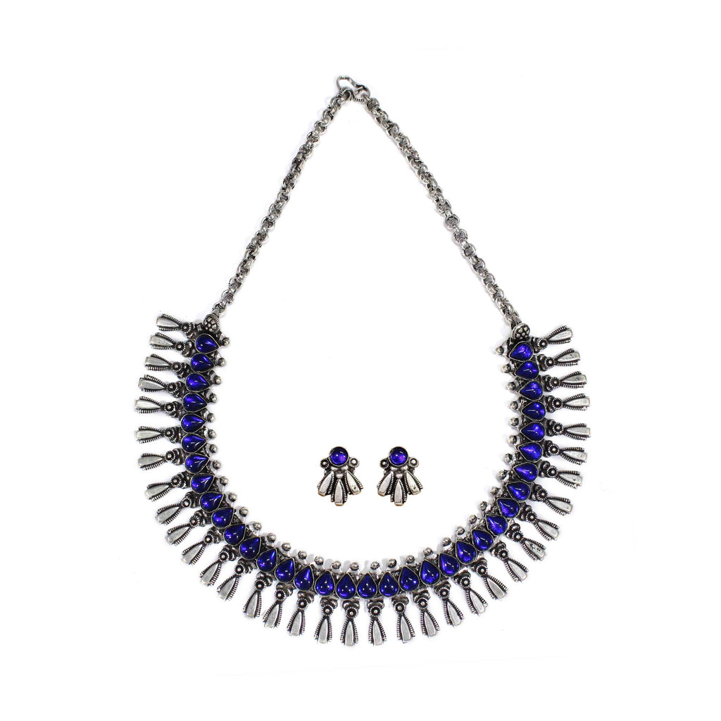 Oxidized German Silver Fringe Design with Blue Kemp Stones Choker Necklace Set
