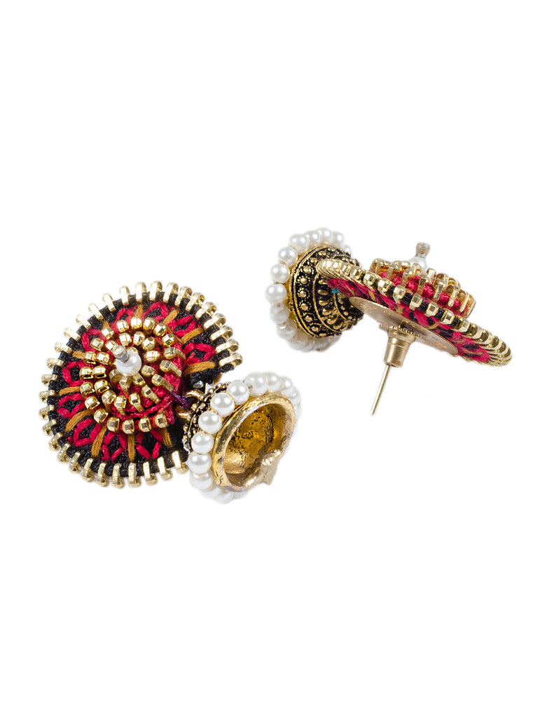 Black And Red Embroidered Jodha Earring