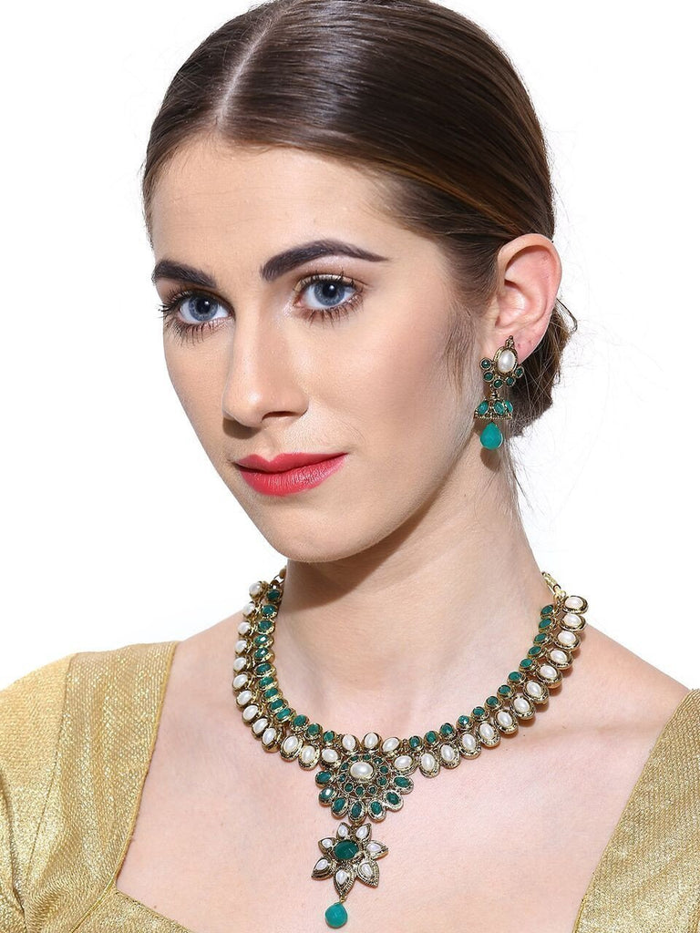 Zaveri Pearls Emerald & Pearl Necklace Set