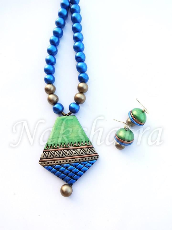 Blue & Green Colour Terracotta Necklace Set